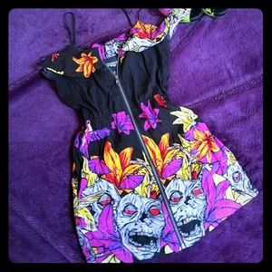 EUC IRON FIST ZombieTiki Ruffle Zip Dress🌺